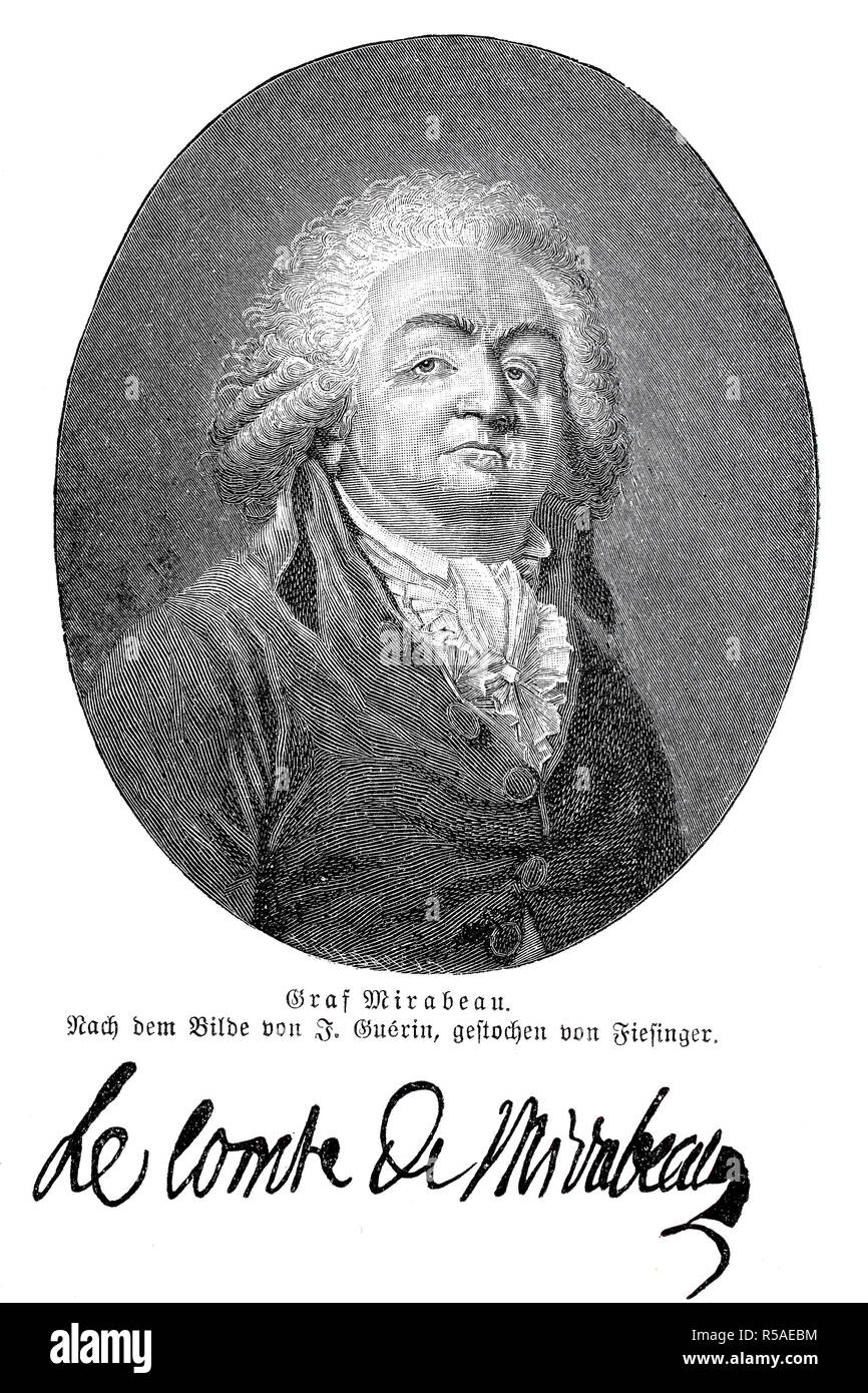 Gabriel Victor de Riqueti, Marquis de Mirabeau, 9 March 1749, 2 April 1791, French politician, physiocrat, writer and publicist - Stock Image