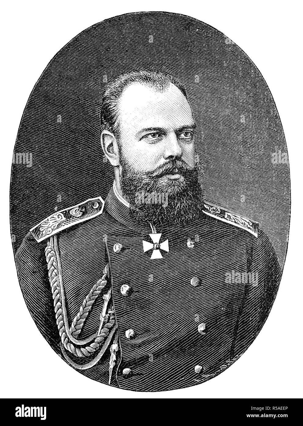 Alexander III, March 10, 1845, November 1, emperor of Russia, woodcut, Russia - Stock Image