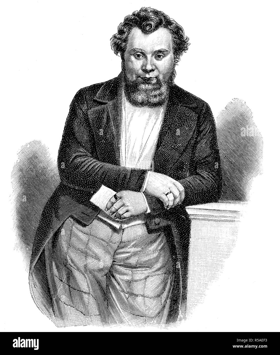 Robert Blum, 10 November 1807, 9 November 1848, politician, publicist, publisher and poet, woodcut, Germany - Stock Image