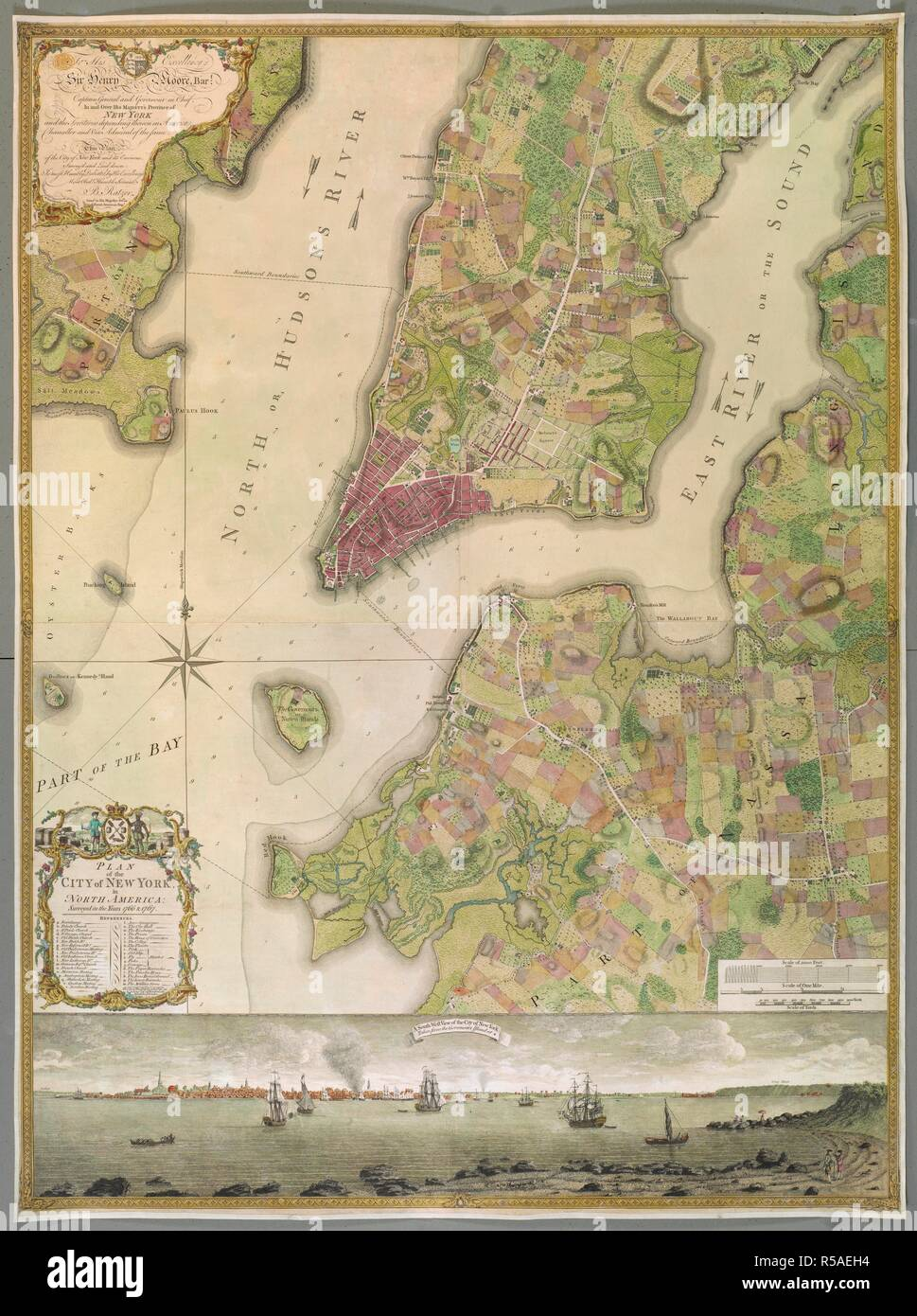 An 18th century plan of the city of New York. PLAN of the CITY of NEW YORK, in North America : Surveyed in the Years 1766 & 1767 / B. Ratzer, Lieut.t in His Majestys 60th or Royal American Reg.t. [London] : [Thomas Kitchin], [about 1770.]. 1 map on 3 sheets : joined and laid on linen, copperplate engraving with original hand colour ; map 118 x 86 cm; Scale approximately 1:1000. Source: Maps K.Top.121.36.b. Author: Ratzer, Bernard. - Stock Image