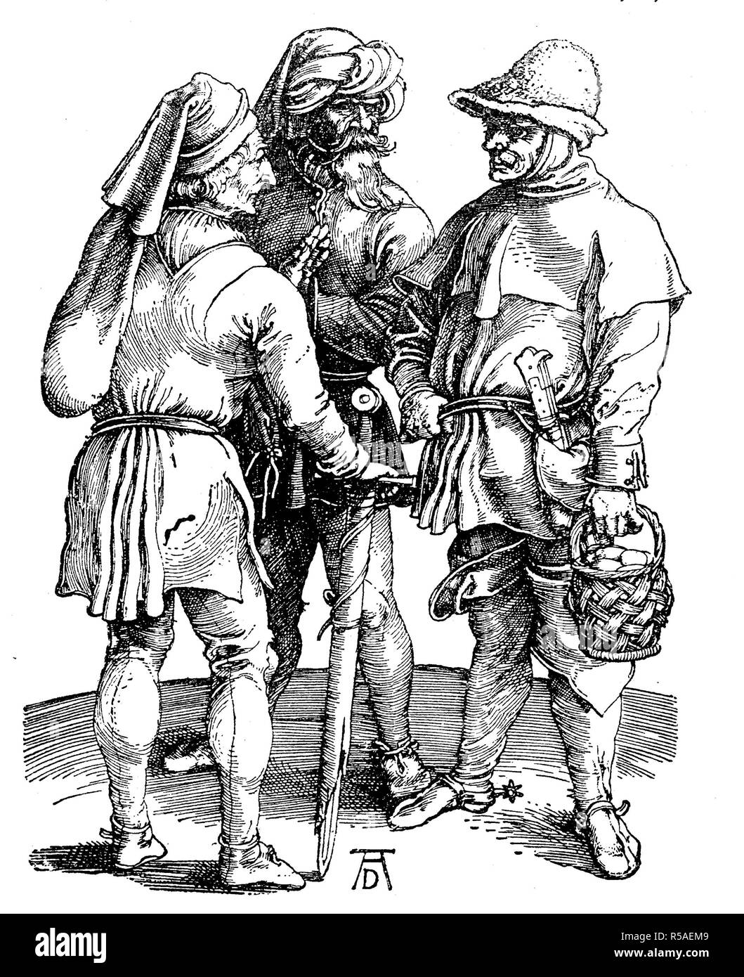 Illustration of three peasants from the beginning of the 16th century, drawn and engraved by Albrecht Duerer, woodcut, Germany - Stock Image