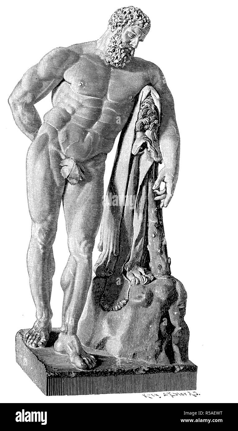 Heracles, divine hero in Greek mythology, antique marble statue in Naples, woodcut, 1888, Italy - Stock Image