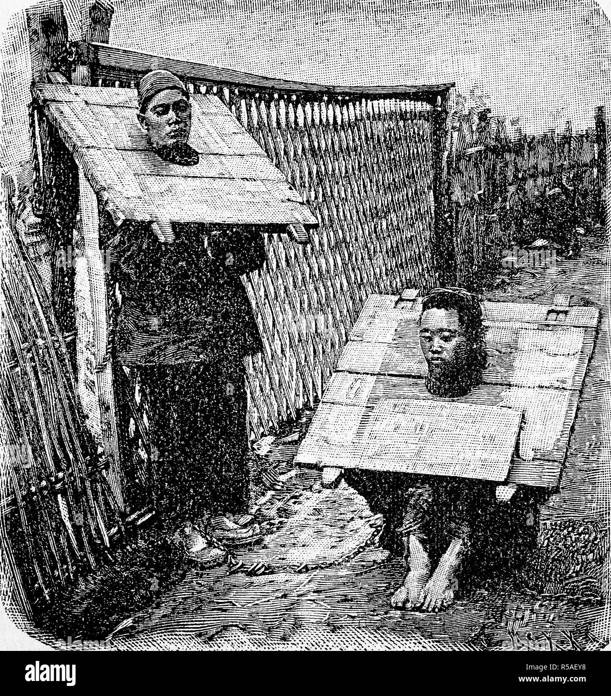 Punishment of criminals in China by a throatboard, 1870, woodcut, China Stock Photo