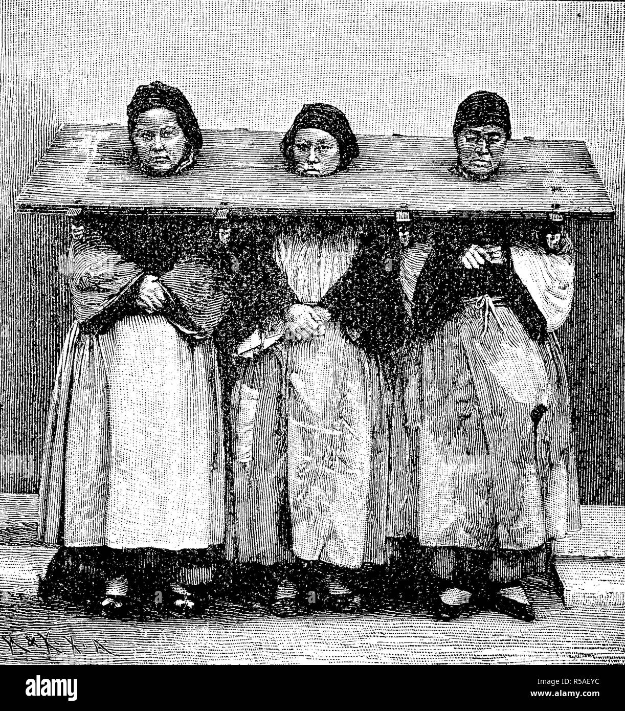 Punishment of female criminals in China by a throatboard, 1870, woodprint, China Stock Photo