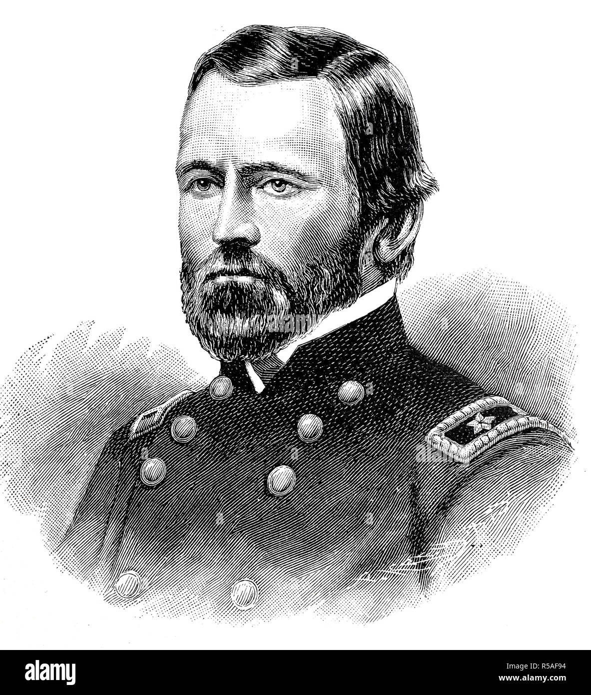 Ulysses S. Grant, April 27, 1822, July 23, 1885, General of the US Armywoodcut, America - Stock Image