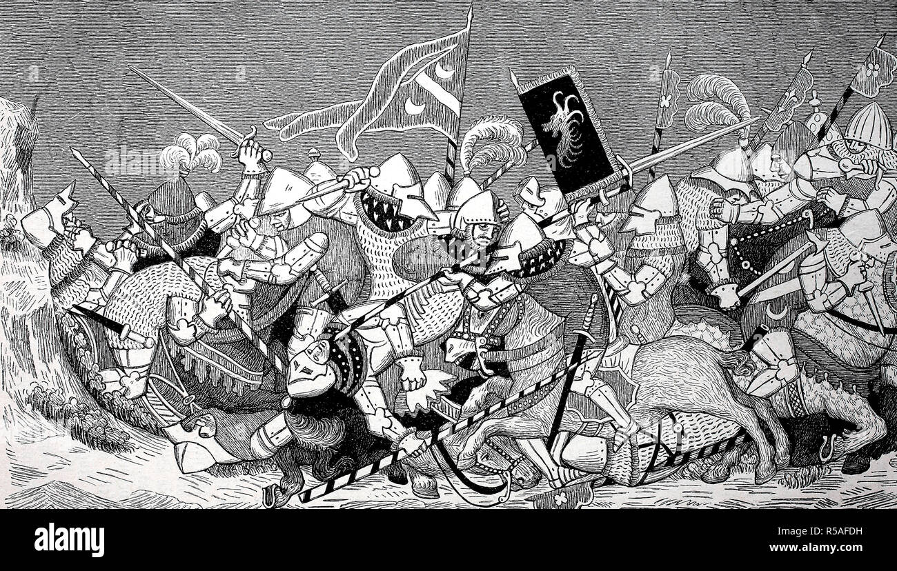 Swiss Habsburg Wars, Battle of Sempach, Knights in the Fray, Miniature from 1385, Germany Stock Photo