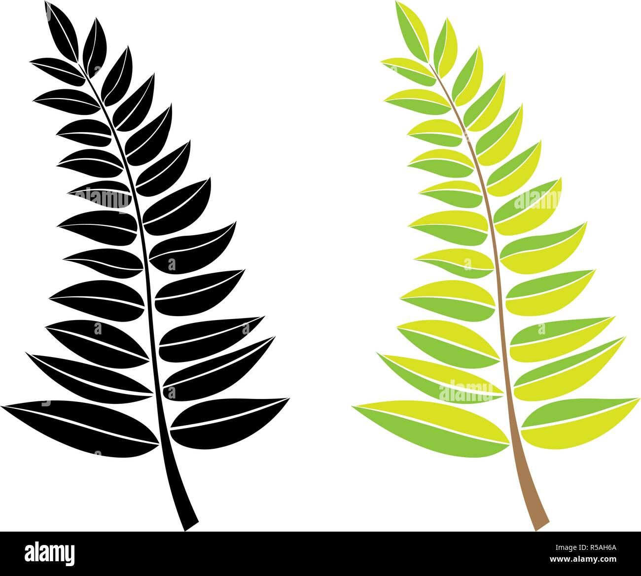 Vector Black And Green Silhouette Of A Branch With Leaves Design