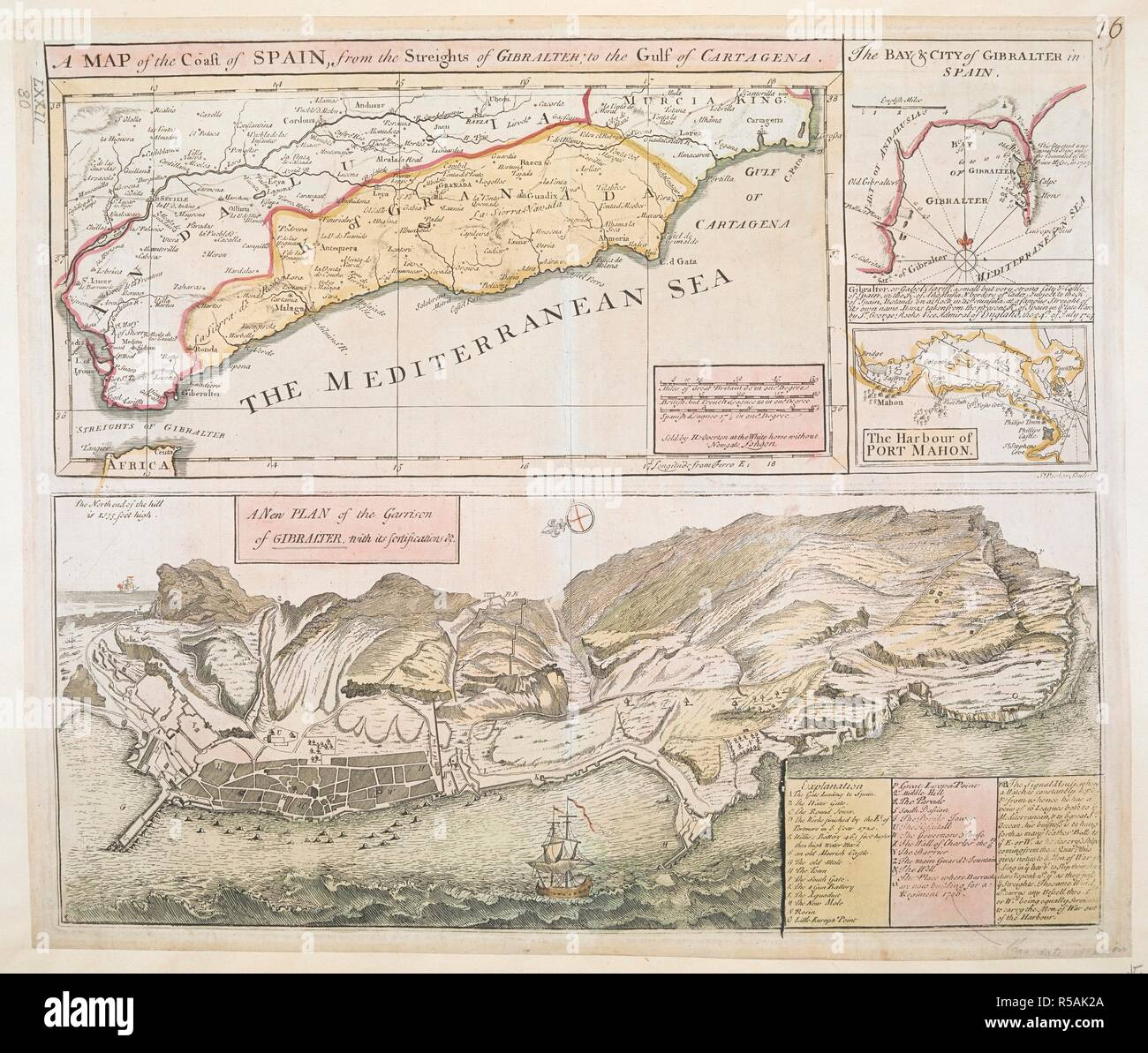 Map Of Coastal Spain.A Map Of The Coast Of Spain And Two Insets With Soundings The Bay