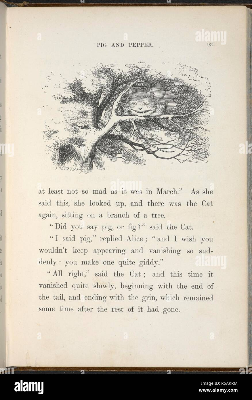 The Cheshire Cat begins to fade away, its his smile the last to go. Alice's Adventures in Wonderland. With forty-two illustrations by John Tenniel. London : Macmillan & Co., 1866 [1865]. Source: C.59.g.11, page 93. - Stock Image