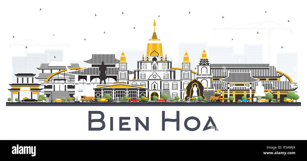 Bien Hoa Vietnam City Skyline with Gray Buildings Isolated on White. Vector Illustration. Business Travel and Tourism Concept - Stock Image