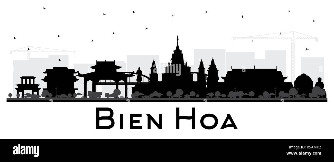 Bien Hoa Vietnam City Skyline Silhouette with Black Buildings Isolated on White. Vector Illustration. Business Travel and Tourism Concept - Stock Image