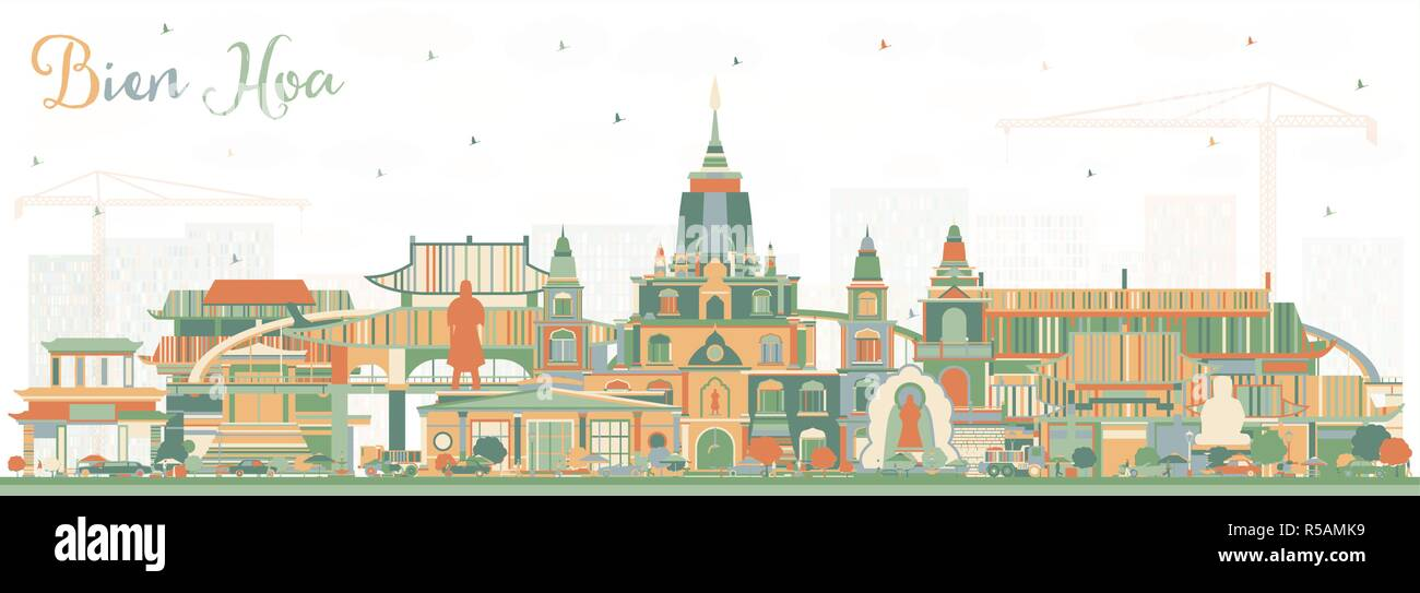 Bien Hoa Vietnam City Skyline with Color Buildings. Vector Illustration. Business Travel and Tourism Concept with Historic Architecture. - Stock Image