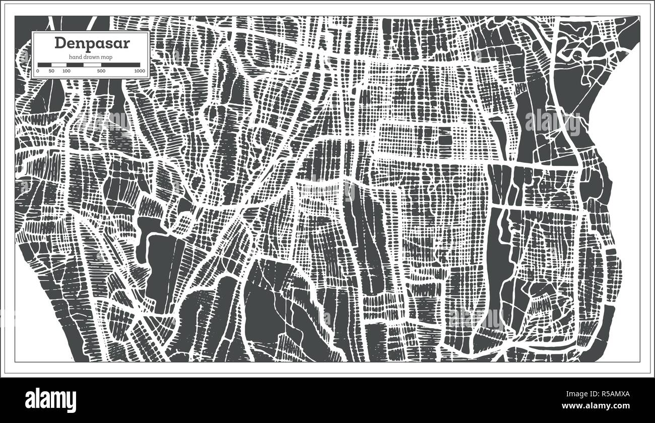 Denpasar Indonesia City Map in Retro Style. Outline Map. Vector Illustration. - Stock Vector