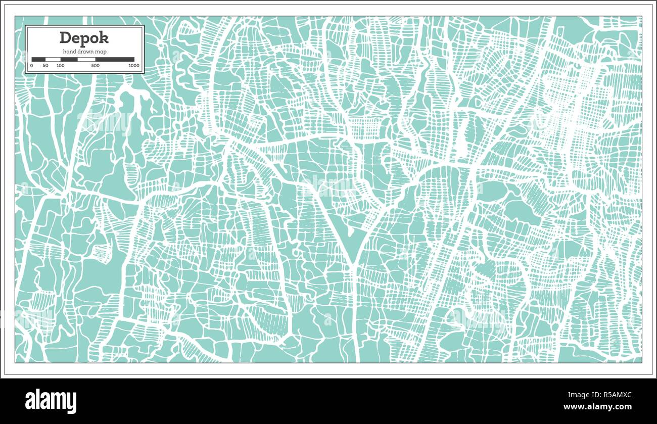 Depok Indonesia City Map in Retro Style. Outline Map. Vector Illustration. - Stock Vector
