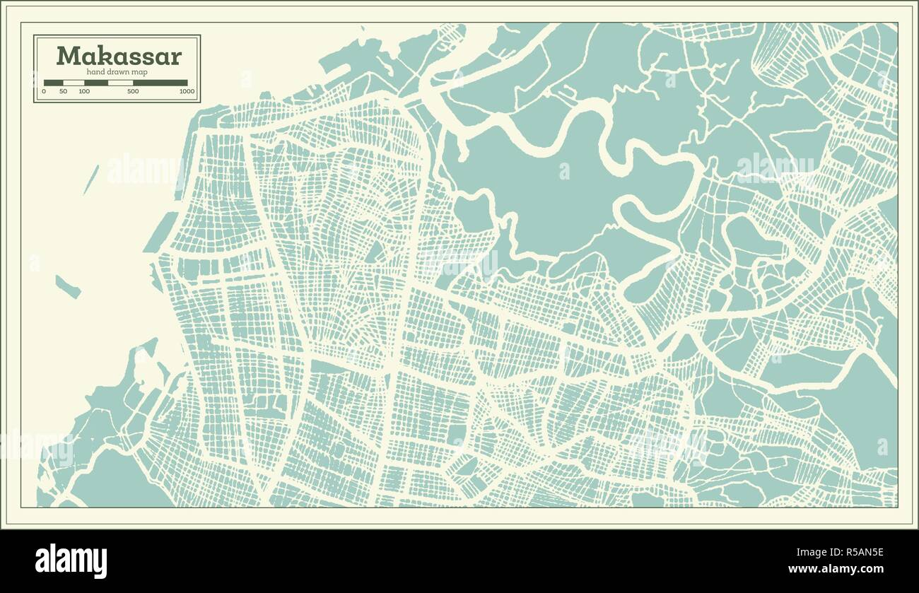 Makassar Indonesia City Map in Retro Style. Outline Map. Vector Illustration. - Stock Vector