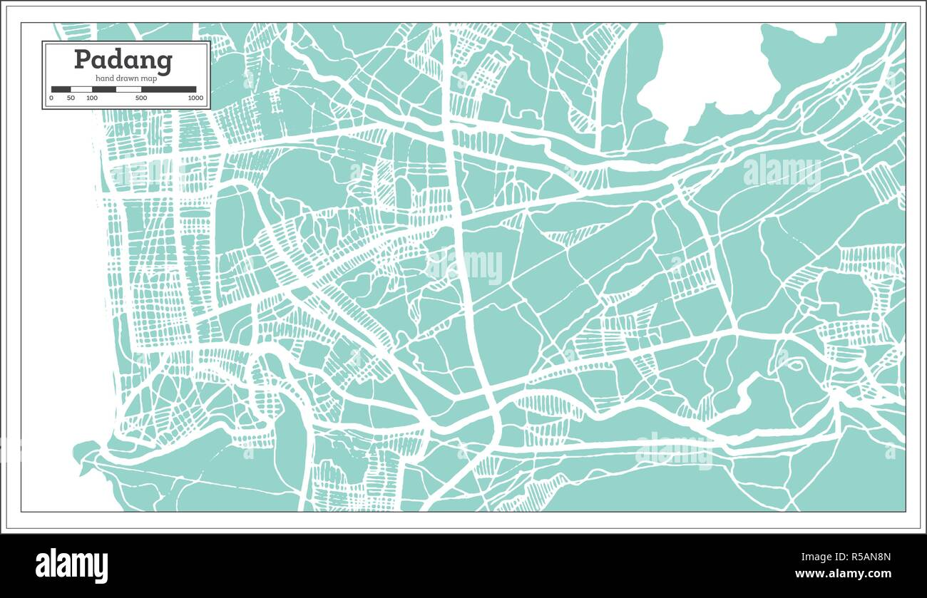 Padang Indonesia City Map in Retro Style. Outline Map. Vector Illustration. - Stock Vector