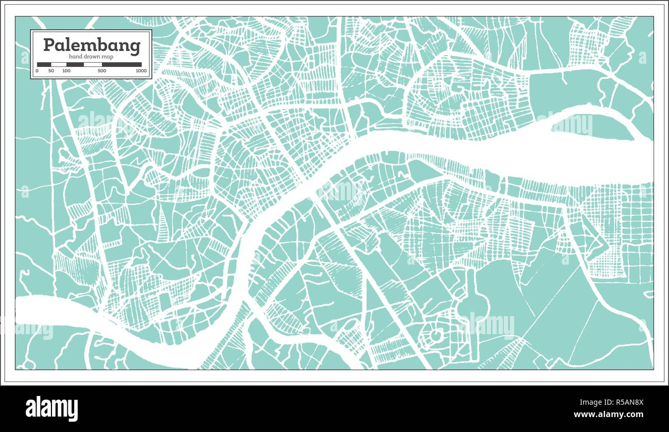 Palembang Indonesia City Map in Retro Style. Outline Map. Vector Illustration. - Stock Vector