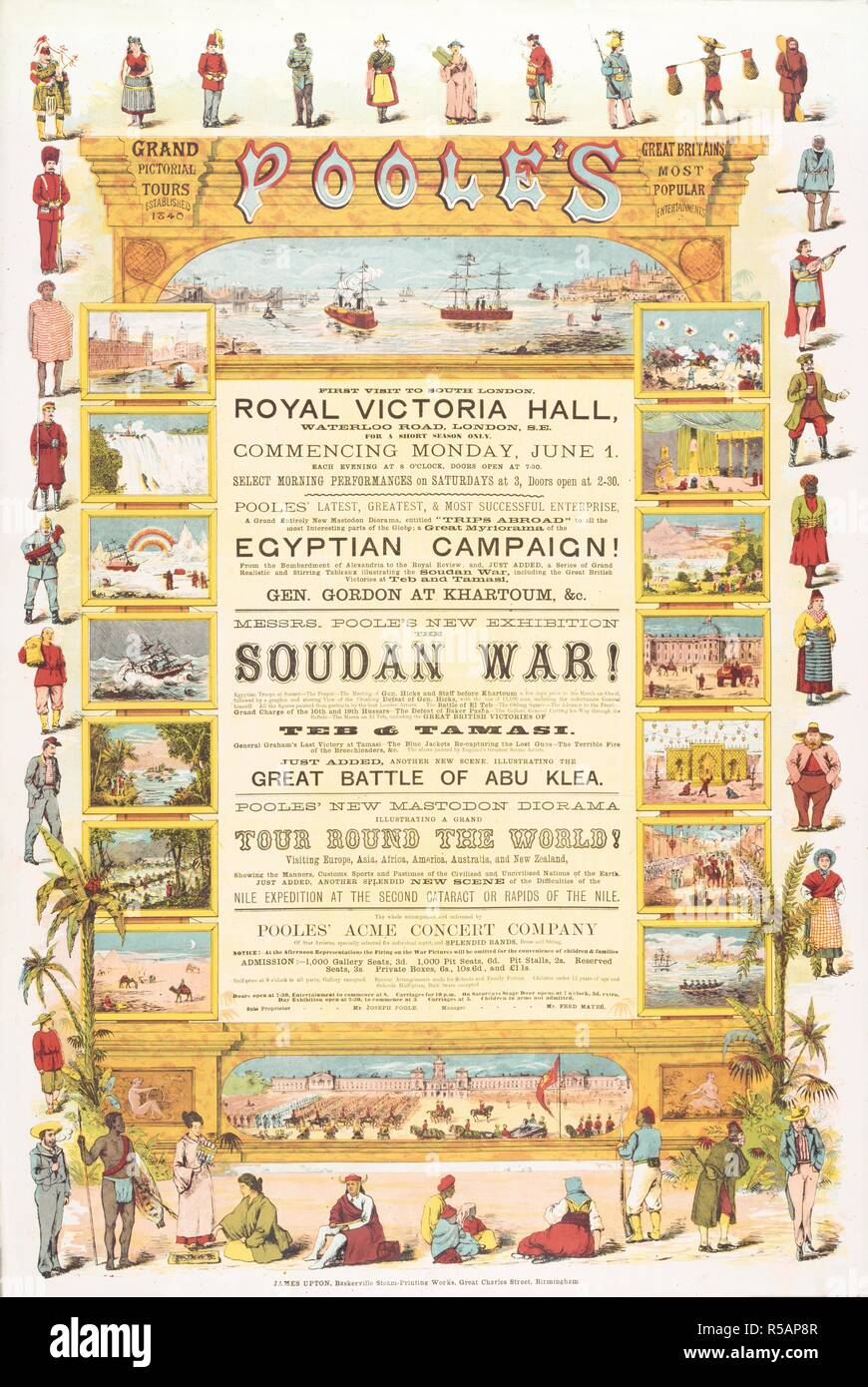 Royal Victoria Hall, Lambeth. Poole's Grand Pictorial Tours, 1885, est. 1840. Pooles' latest mastodon diorama, entitled 'Trips abroad' to all the most interesting parts of the globe. Visiting Europe, Asia, Africa, America, Australia, and New Zealand, showing the manners, customs, sports and pastimes of the civilized and uncivilized nations of the earth. Poole's new exhibition, the Soudan war! The whole accompanied and enlivened by Pooles' Acme Concert Company of star artistes. A collection of pamphlets, handbills, and miscellaneous printed matter relating to Victorian entertainment and everyda - Stock Image