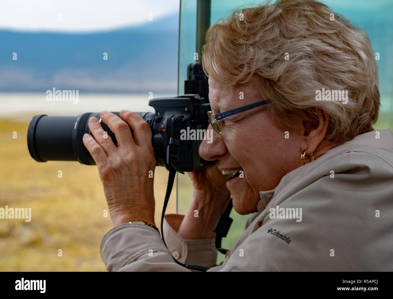 Older woman enjoys a photo safari in Tanzania by photographing wildlife from a Land Rover in the Serengetti National Park - Stock Image