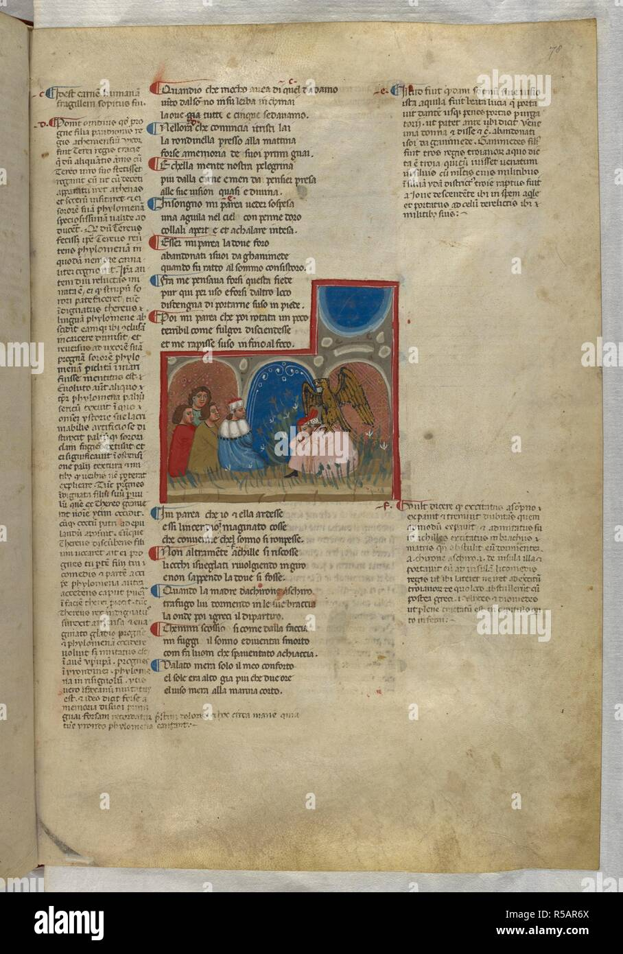 Purgatorio: The sleeping Dante is grasped by an eagle. Dante Alighieri, Divina Commedia ( The Divine Comedy ), with a commentary in Latin. 1st half of the 14th century. Source: Egerton 943, f.78. Language: Italian, Latin. - Stock Image