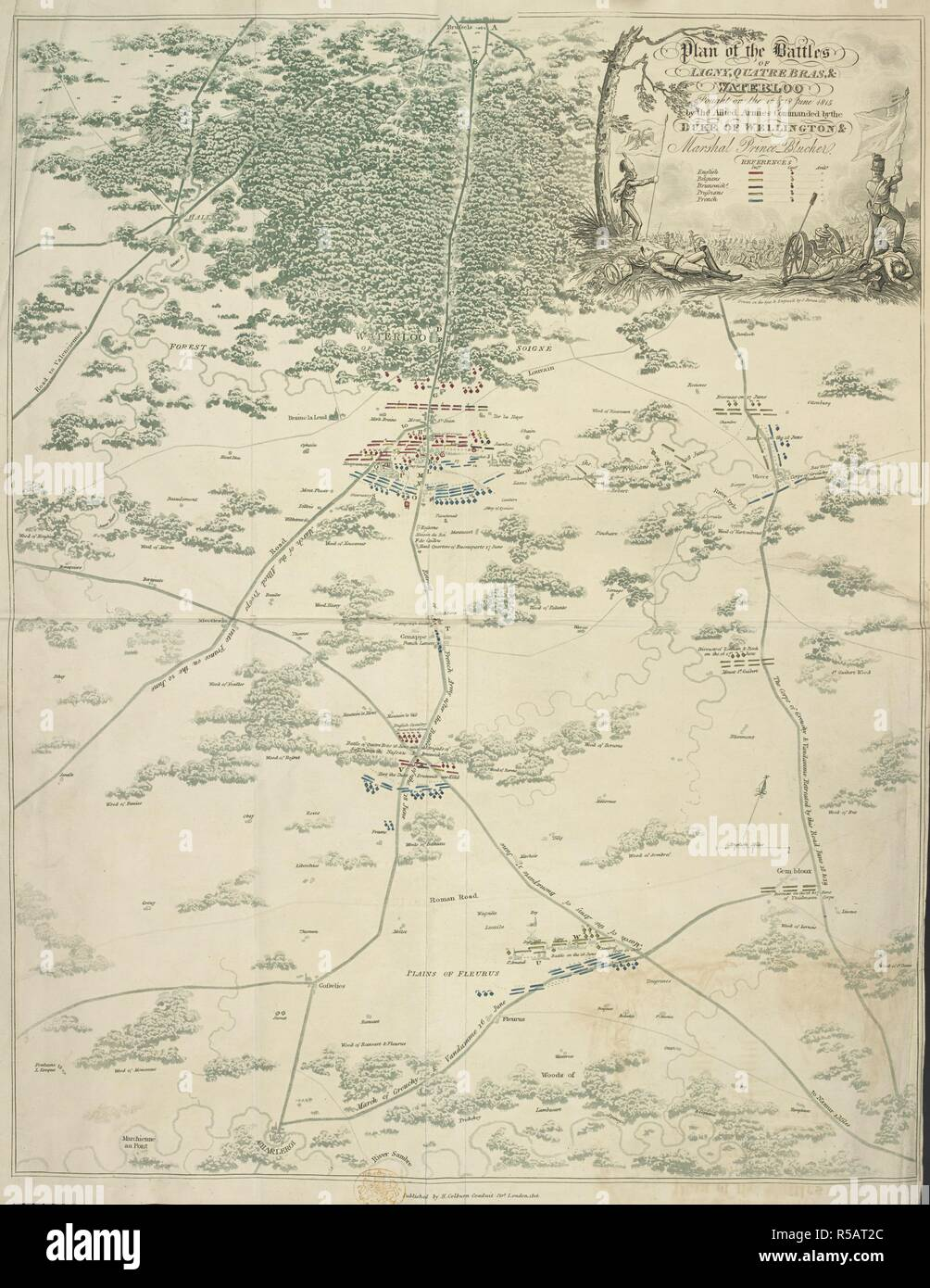 Plan of the battles of Ligny, Quatre Bras, & Waterloo, fought on the 16 & 18th June 1815 by the allied armies commanded by the Duke of Wellington & marshal Blucher. An Historical Account of the Campaign in the Netherlands, in 1815, under His Grace the Duke of Wellington, and Marshal Prince Blucher, comprising the battles of Ligny, Quatrebras, and Waterloo; with a detailed narrative of the political events connected with those memorable conflicts down to the surrender of Paris, and the departure of Bonaparte for St. Helena ... Embellished with ... plates ... from drawings ... by James Rouse. Lo - Stock Image