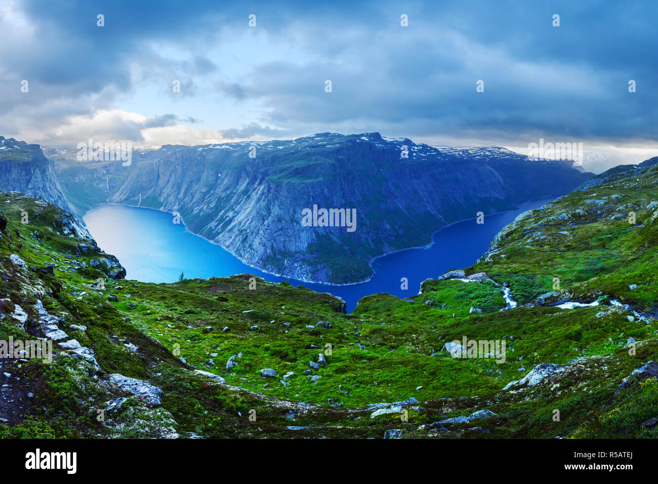 Panorama of Ringedalsvatnet lake near Trolltunga rock - most spectacular and famous scenic cliff in Norway - Stock Image