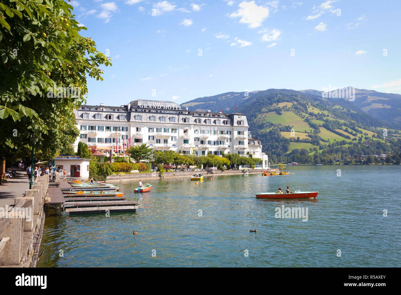 Grand Hotel on Lake Zell am See, Pinzgau, Salzkammergut, Austria Stock Photo