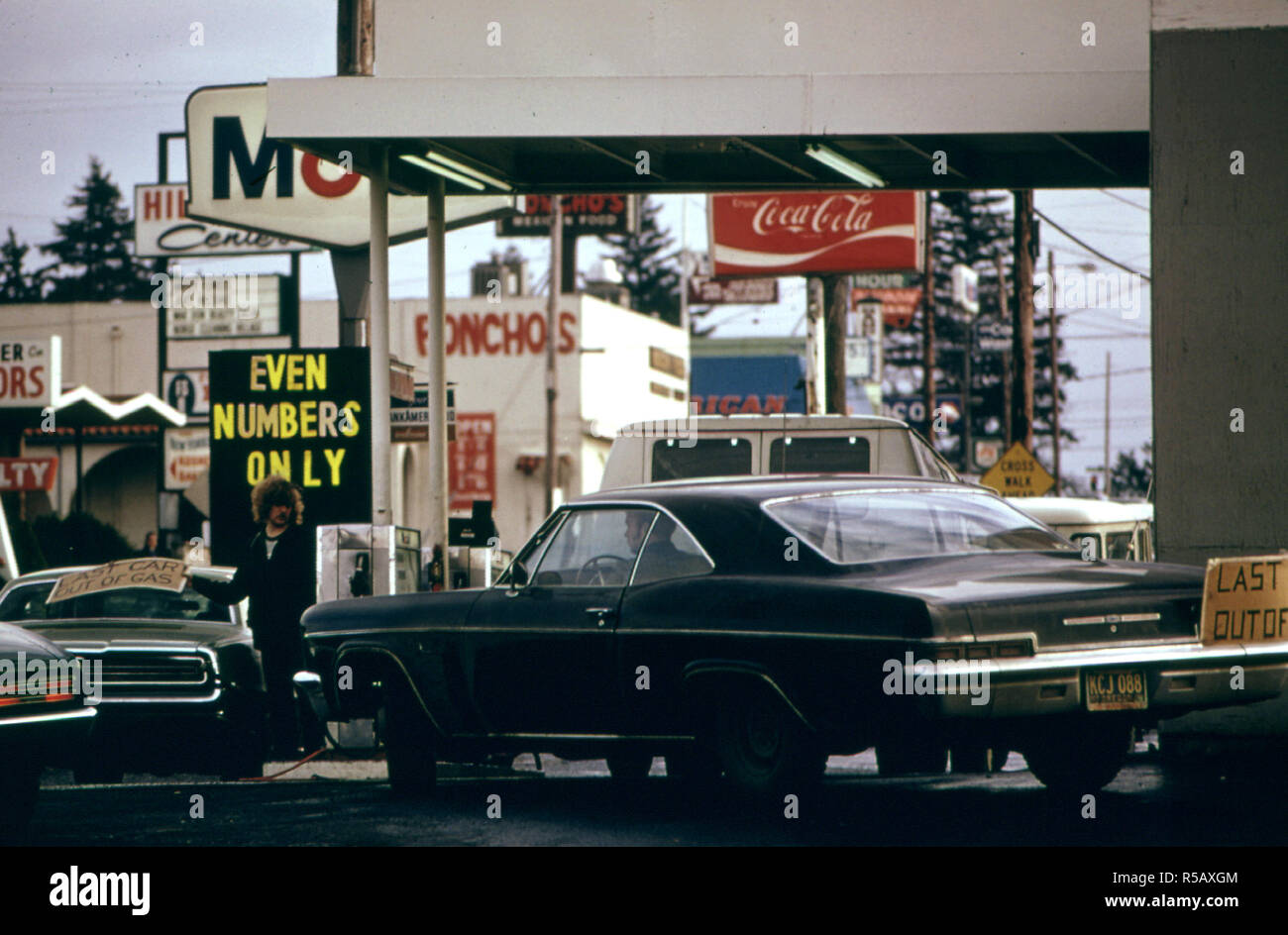 Portland 1974 - The State of Oregon Was the First to Go to a System of Odd and Even Numbers During the Gasoline Crisis in the Fall and Winter of 1973-74. - Stock Image