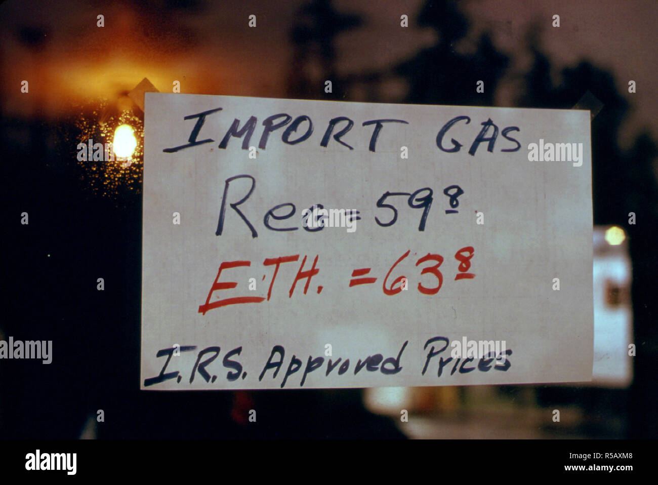 Imported Gasoline Was Sold at This Service Station, During the Fuel Crisis in the Fall and Winter of 1973-74. It Was as Much as Twice the Price of Domestic Gas  ca. 1974 - Stock Image