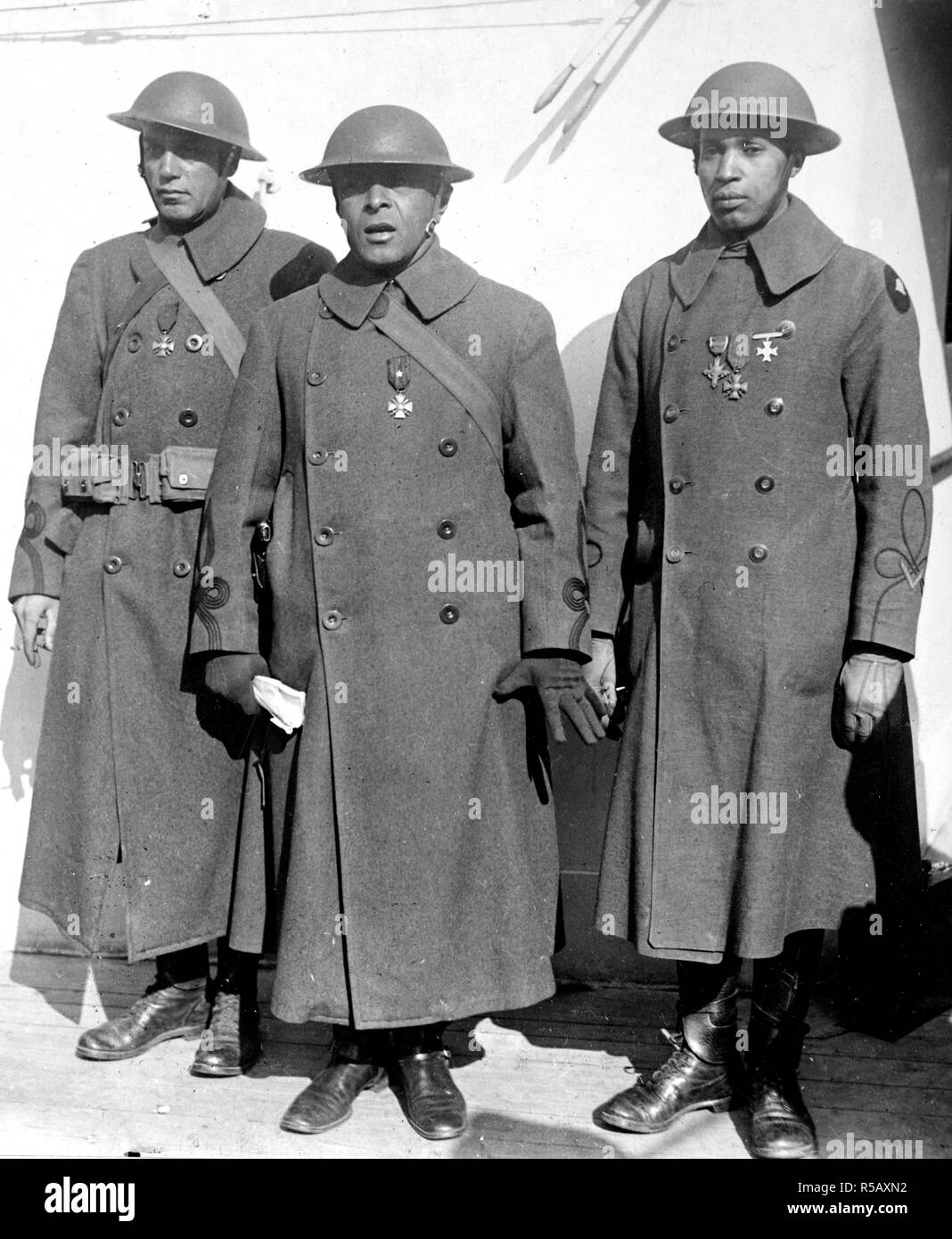 WW I Photos - Colored / African American Troops - Original Caption: Officers of the Famous Colored Regiment which Arrived Home on the 'France.' Left to right: Maj. J.R. White; Lt. Col. Otis B. Duncan, highest ranking colored officer in the U.S. Army; Lt. W.J. Warfield. The first of Col1l William Hayw 2/10/1919 - Stock Image