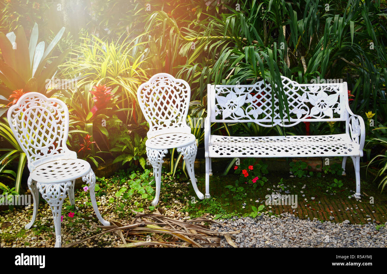Fabulous Garden Bench Outdoors White Vintage Bench And Chair In The Machost Co Dining Chair Design Ideas Machostcouk