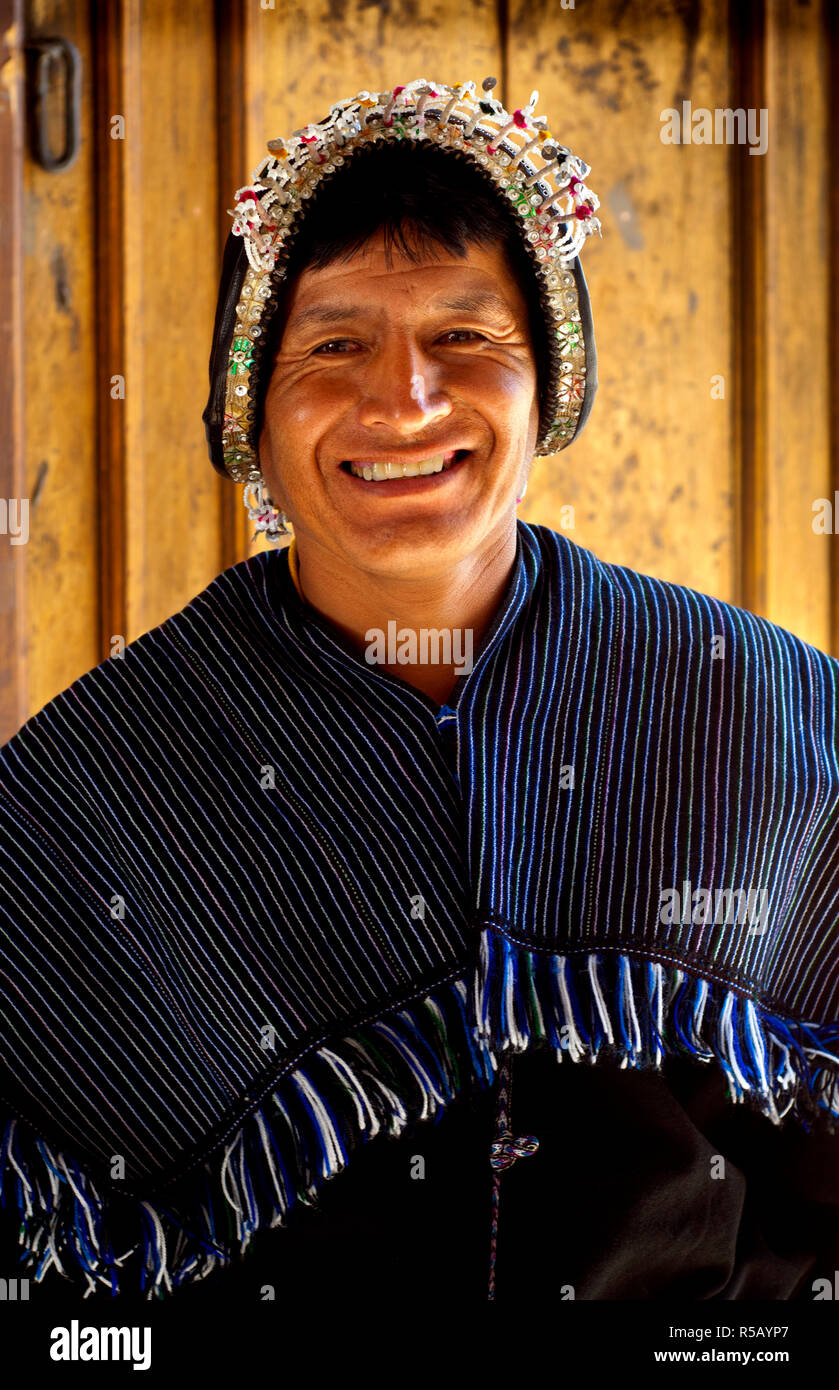 Museum Of Indigenous Arts, Museo de Arte Indigena, Traditional Headress And Poncho Of Tarabuco Men, Sucre, Bolivia - Stock Image