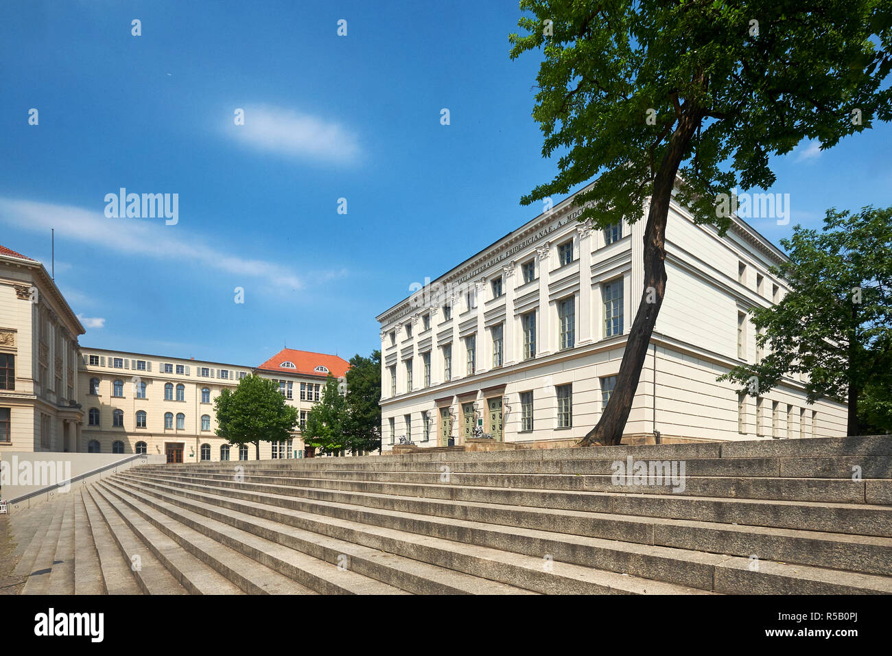 University Square of Martin Luther University Halle-Wittenberg in Halle / Saale, Saxony-Anhalt, Germany Stock Photo