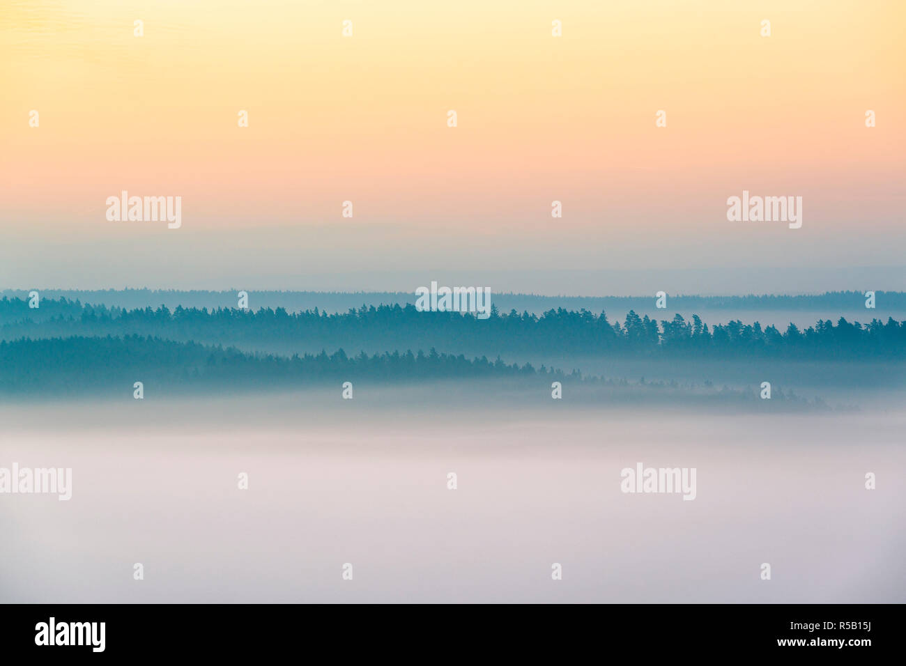 Sunrise at the Leuchtenburg, fog, autumn, Thuringia, Germany Stock Photo