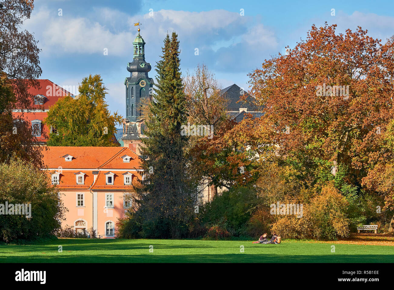 House of Frau von Stein with castle tower, Weimar, Thuringia - Stock Image