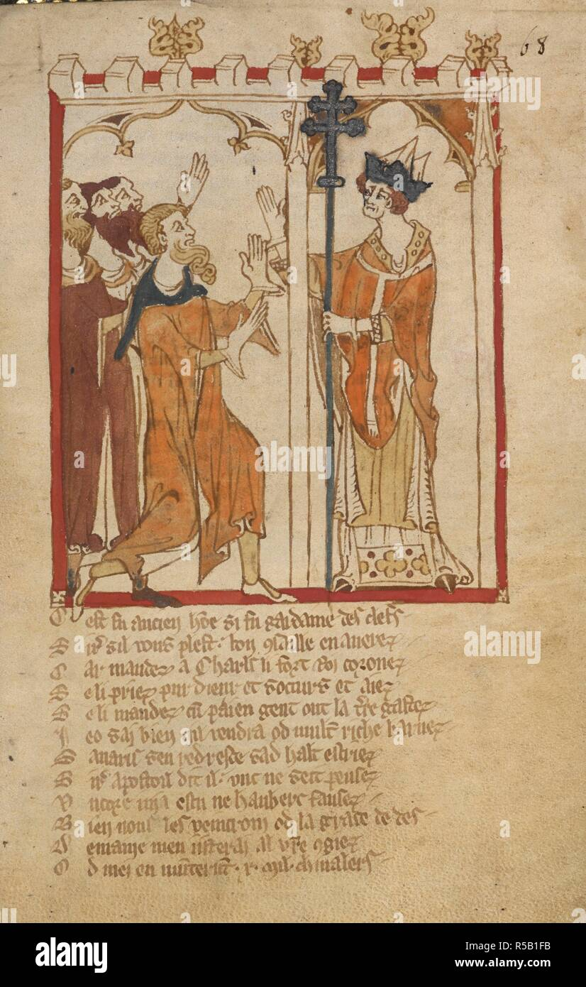 The Pope appealed to for help. ROMANCES in French verse ... 14th century. Source: Egerton 3028 f.68. Author: Wace, Canon of Bayeux. Stock Photo