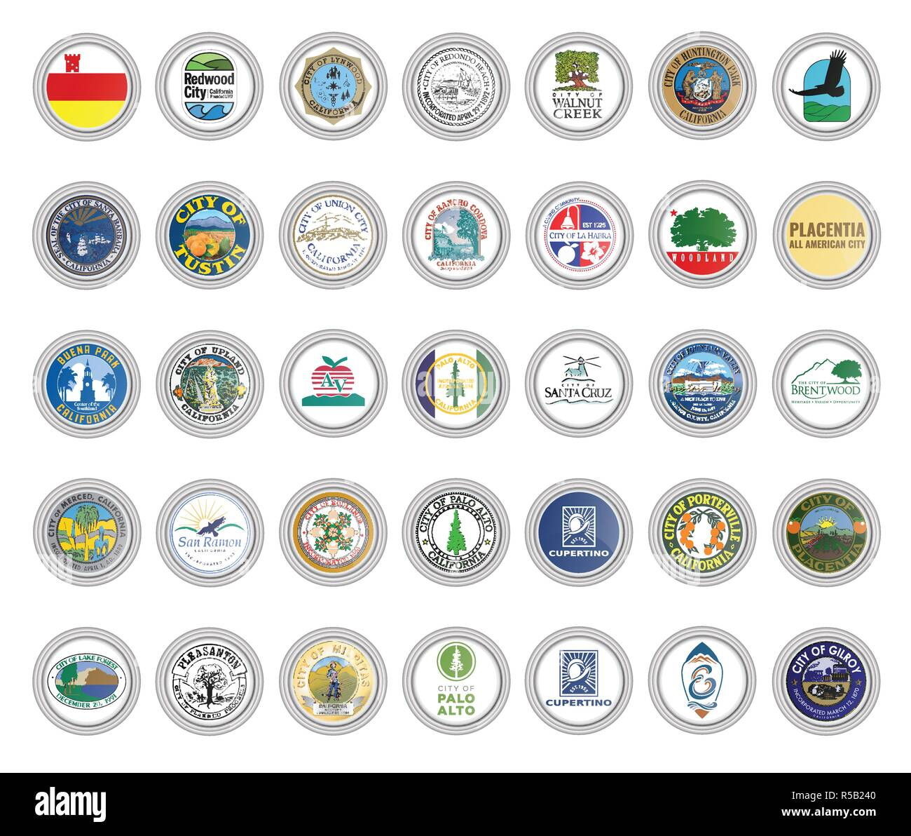 Set of vector icons. Flags and seals of cities, California state, USA. 3D illustration. - Stock Image