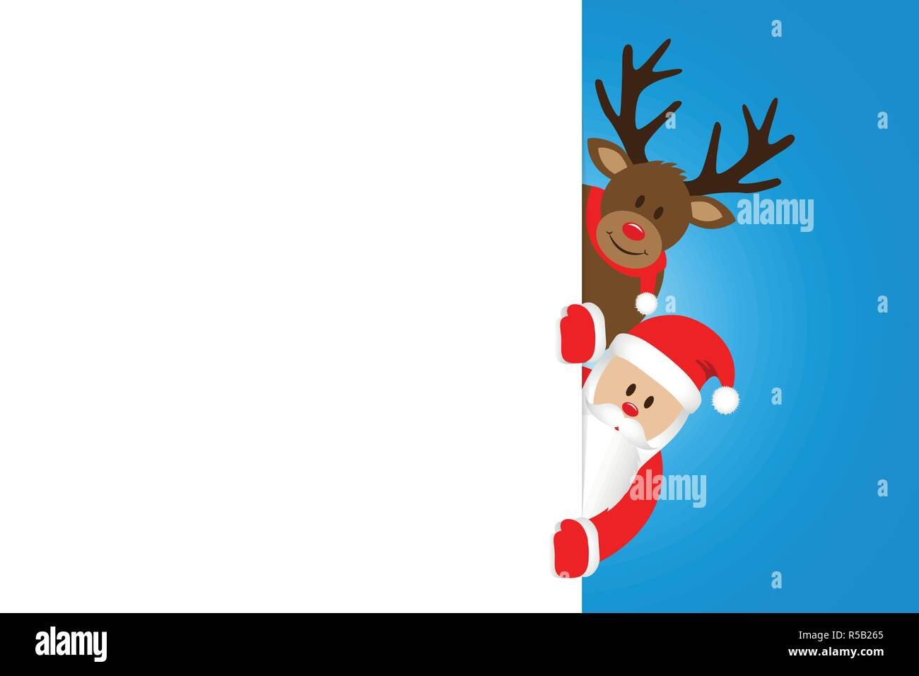 Christmas Cartoon Images.Santa And Reindeer Christmas Cartoon With White Banner