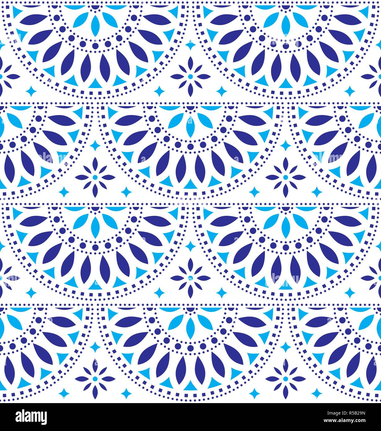 Mexican folk art vector seamless geometric pattern with flowers, blue fiesta design inspired by traditional art from Mexico - Stock Vector