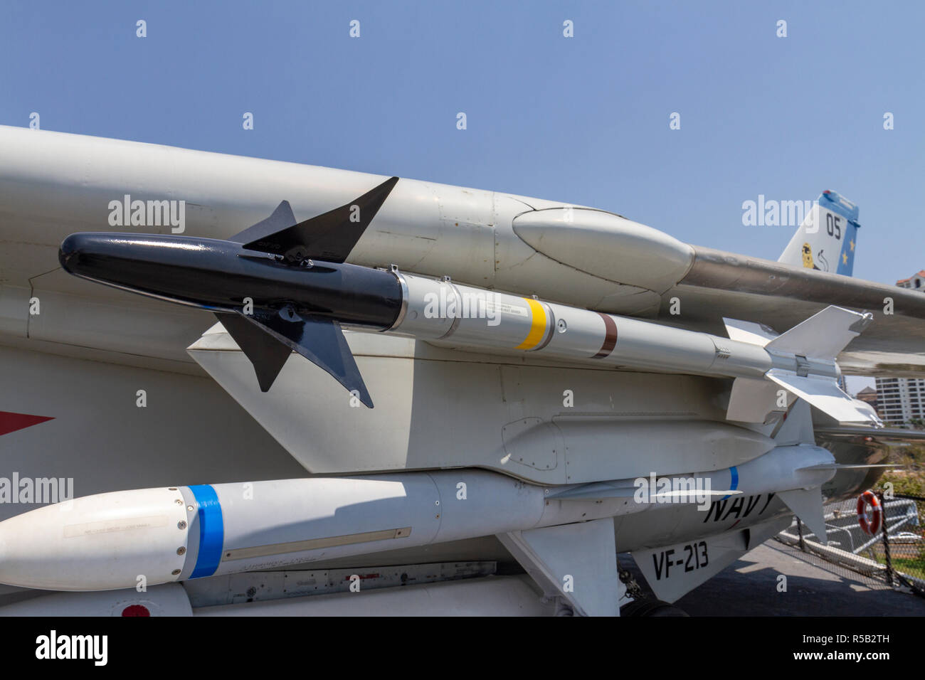 AIM-9 Sidewinder missile, F-14 Tomcat fighter aircraft, USS Midway Museum, San Diego, California, United States. Stock Photo