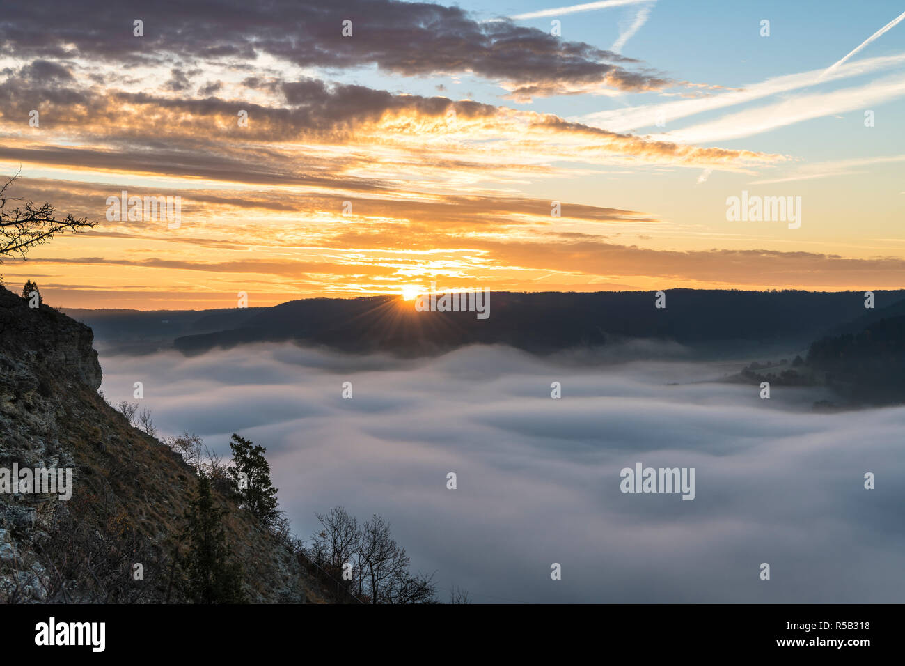 Sunrise over Jena, Nebel, Thuringia, Germany - Stock Image