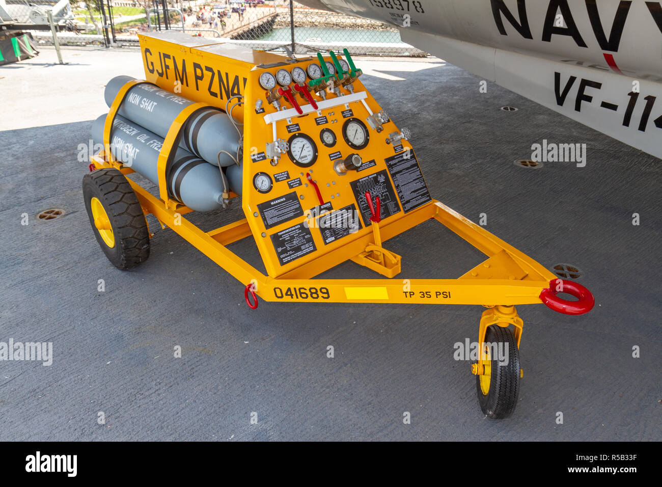 A nitrogen servicing unit (ground support equipment) USS Midway Museum, San Diego, California, United States. - Stock Image