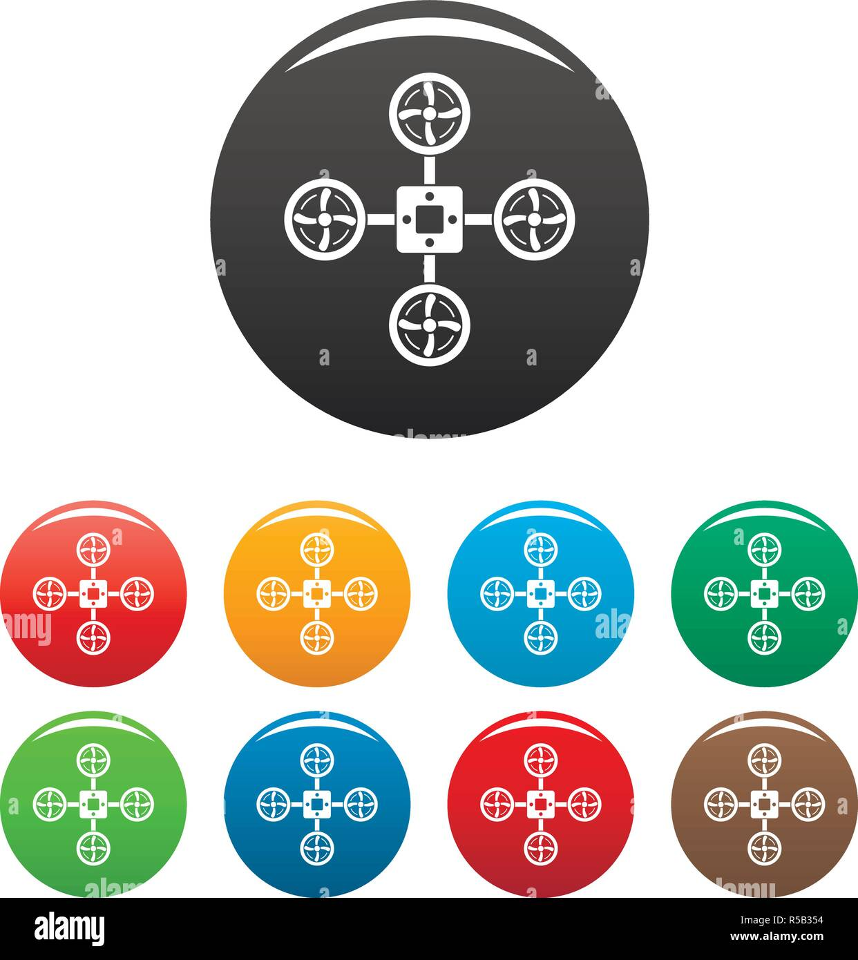Spy drone icons set 9 color vector isolated on white for any design - Stock Vector