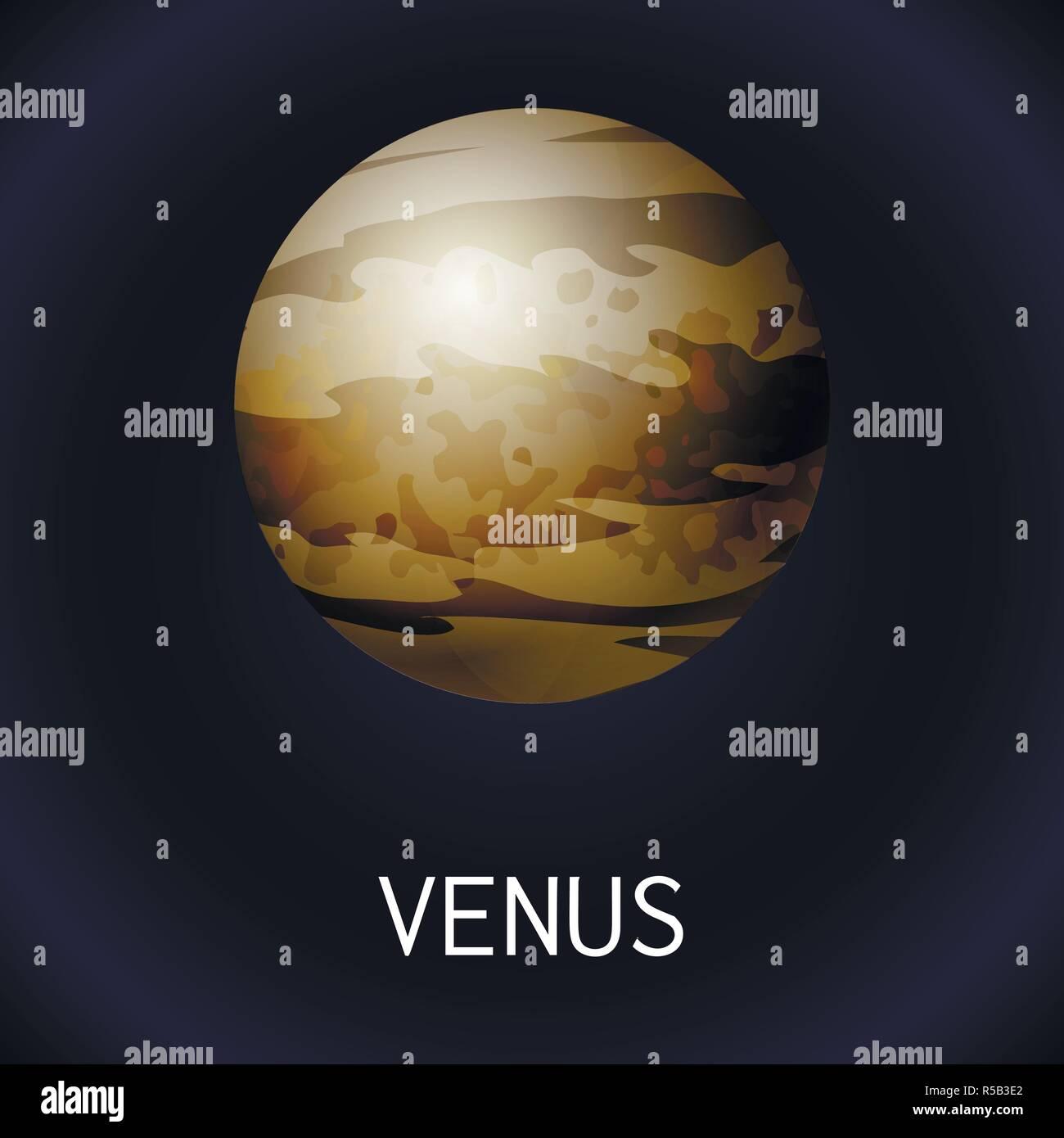 Venus planet icon. Cartoon of venus planet vector icon for web design - Stock Image