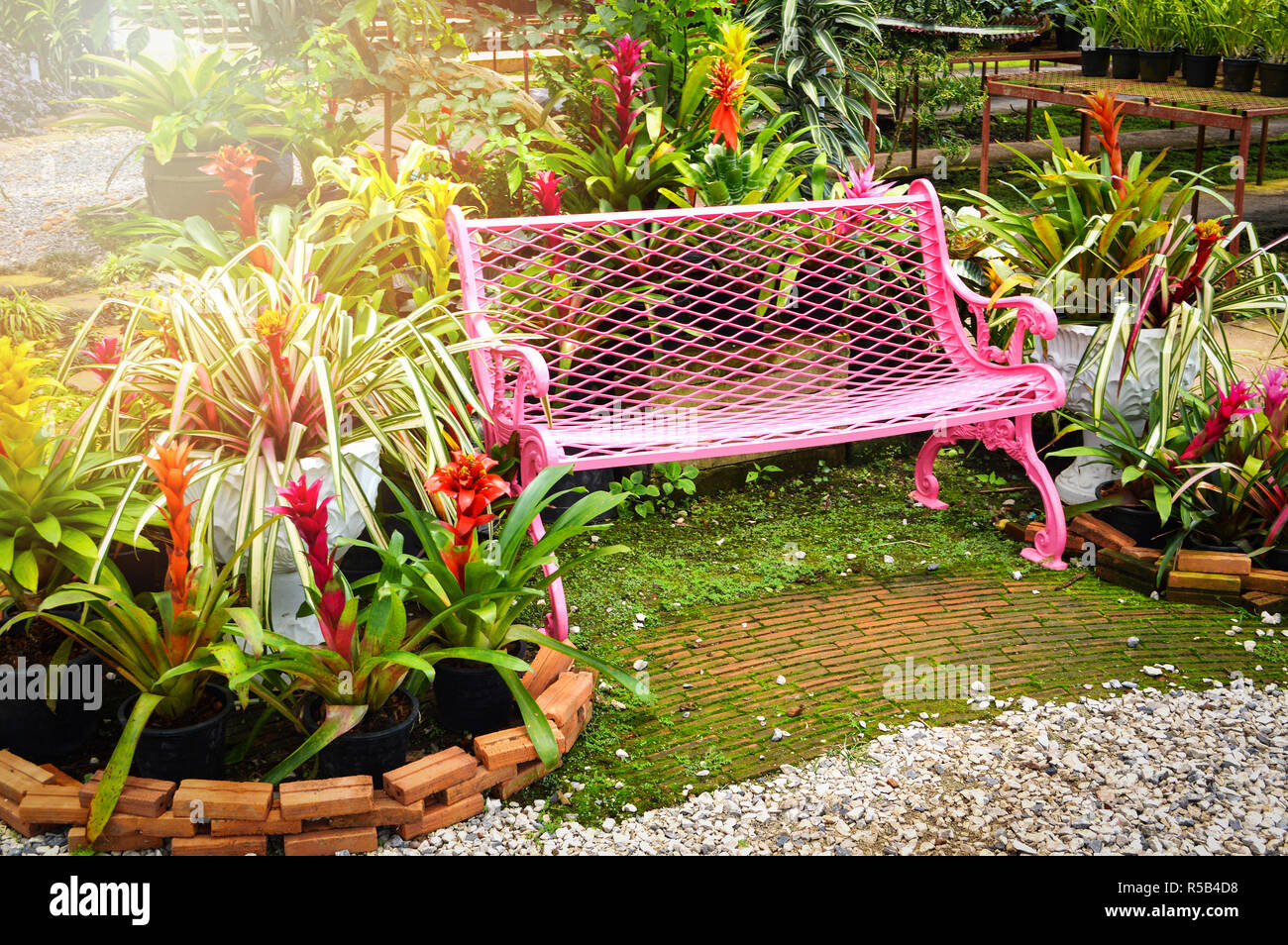 Swell Garden Bench Outdoors Pink Vintage Bench Chair In The Machost Co Dining Chair Design Ideas Machostcouk