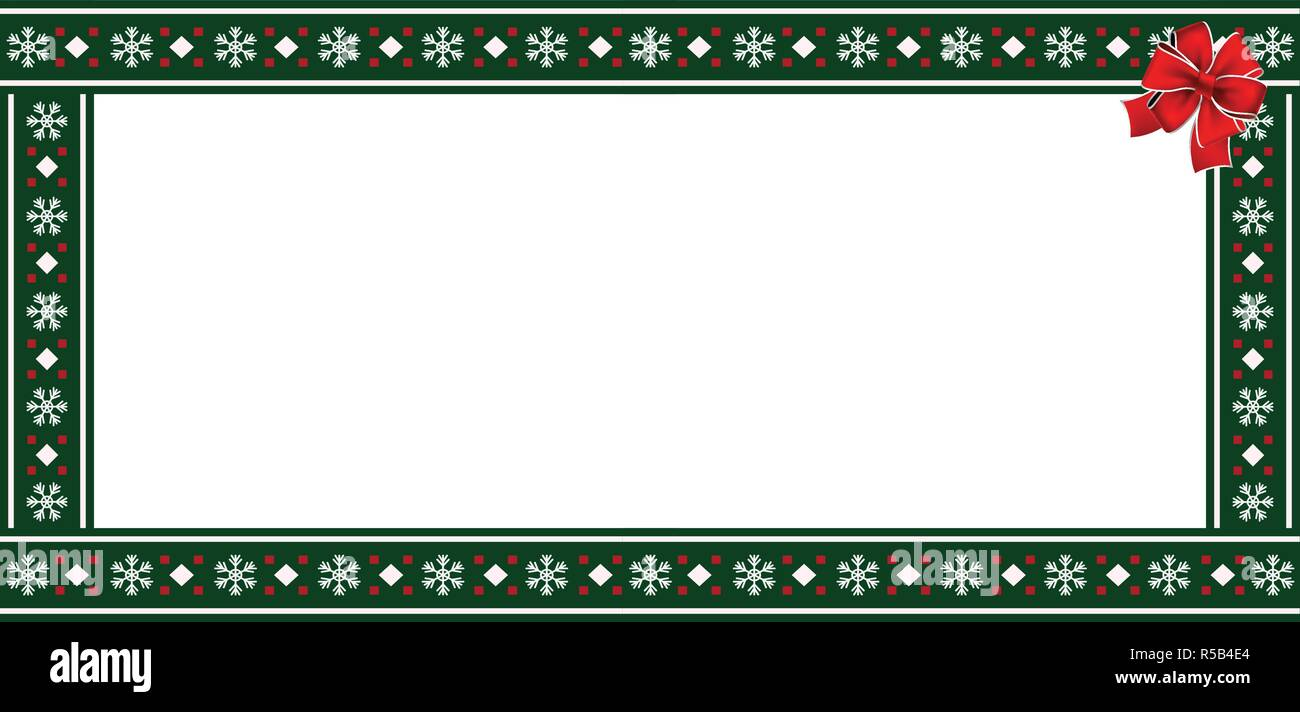 vector rectangle template frame banner billboard signboard copy space cute christmas or new year green border frame with snowflakes pattern orna