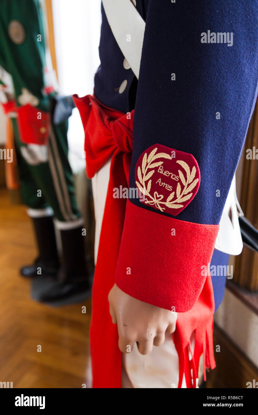 France, Nord-Pas de Calais Region, Boulogne sur Mer, Musee du Libertador San Martin, museum to and former home of Argentine General San Martin, Liberator of Argentina, Chile and Peru, detail of military uniform from Buenos Aires - Stock Image