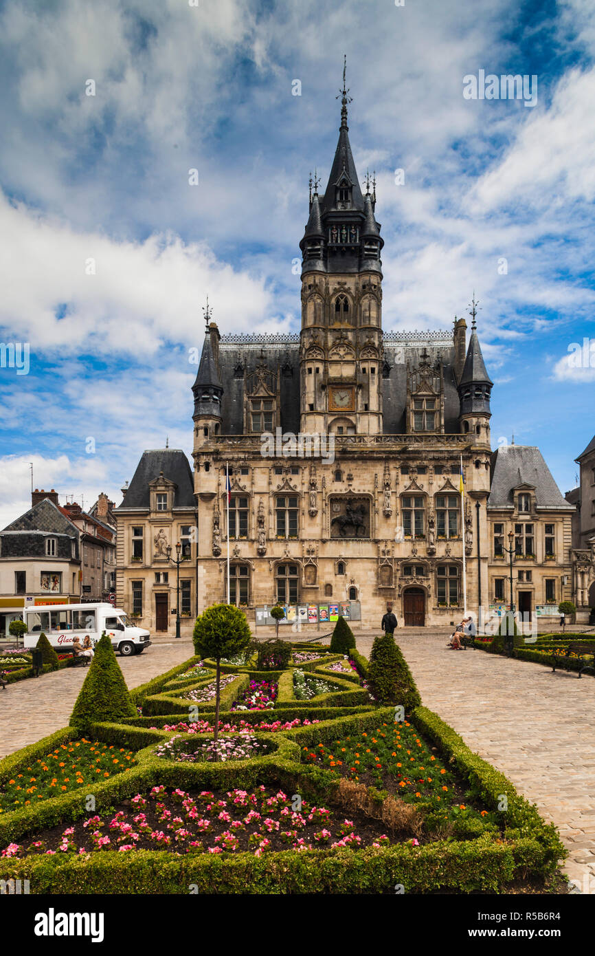 France, Picardy Region, Oise Department, Compiegne, town hall Stock Photo