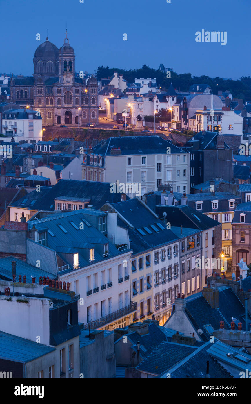 France, Normandy Region, Manche Department, Granville, elevated city view - Stock Image