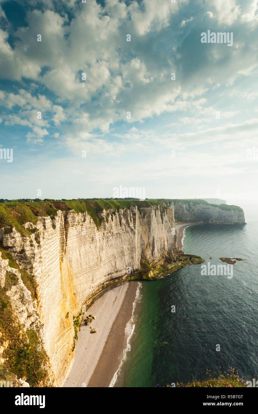 France, Normandy Region, Seine-Maritime Department, Etretat, Falaise De Aval cliffs - Stock Image
